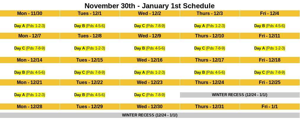 Nov Dec Jan Calendar