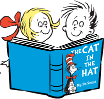 kids reading cat in the hat book