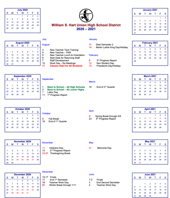 Access the Hart District 2020-21 School Year Calendar Here Featured Photo