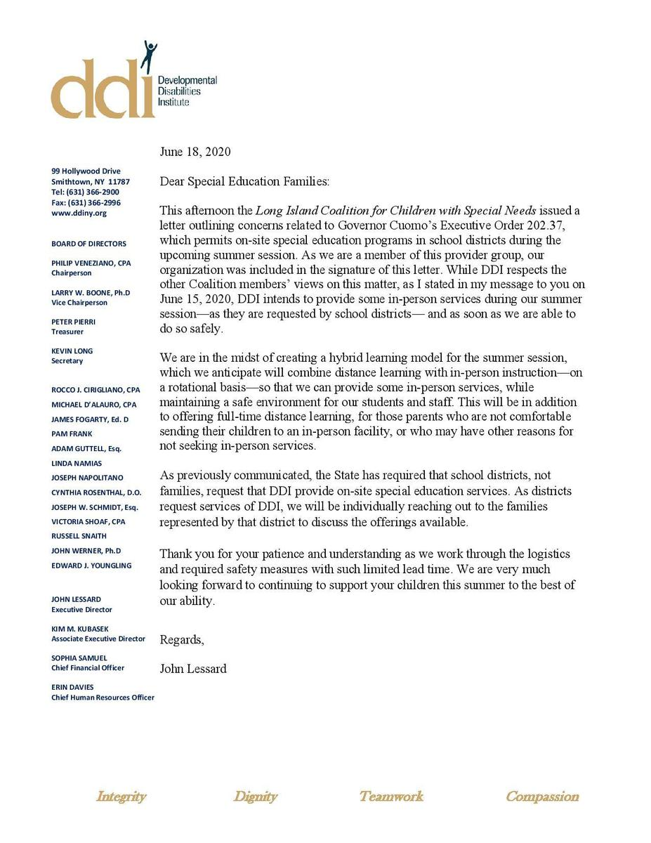 Letter to families re summer session