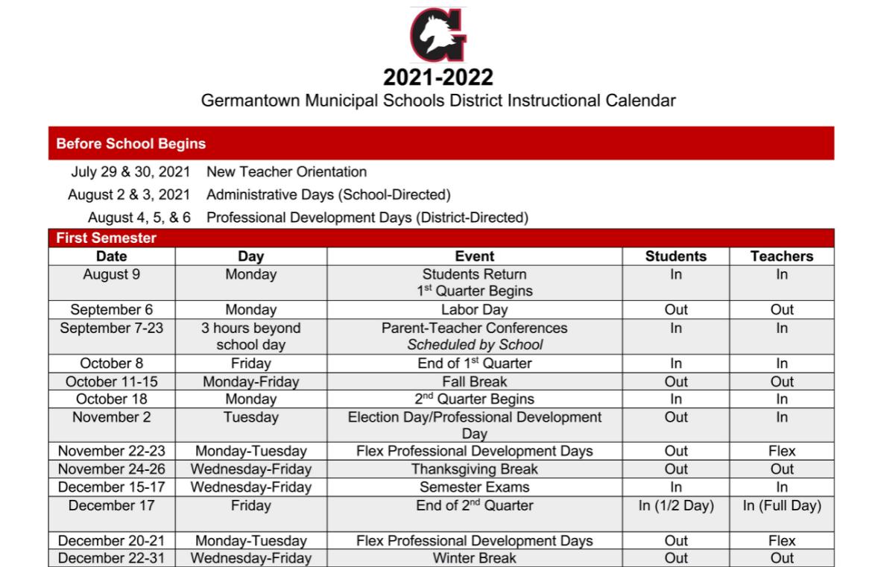 Thumbnail Image of the instructional calendar.
