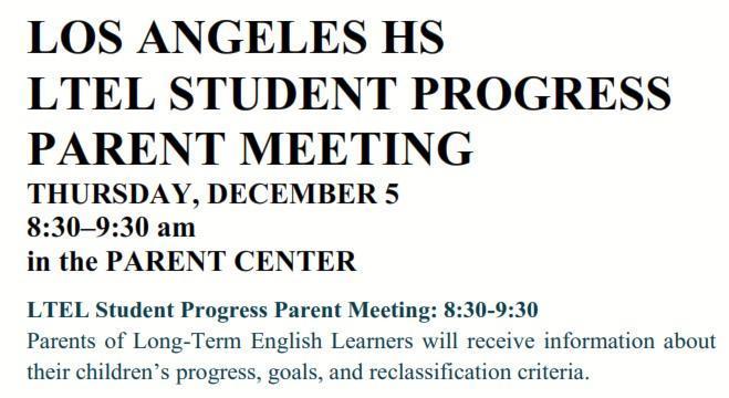 LOS ANGELES HS LTEL STUDENT PROGRESS PARENT MEETING Featured Photo