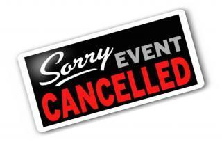 Graphic that reads, 'Sorry Event Cancelled'