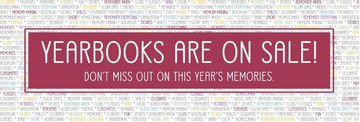 A banner that reachs Yearbooks are on Sale!