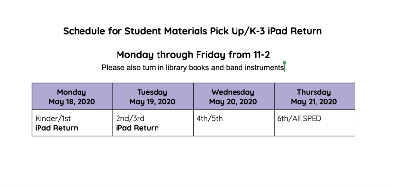 Schedule for student material pick up