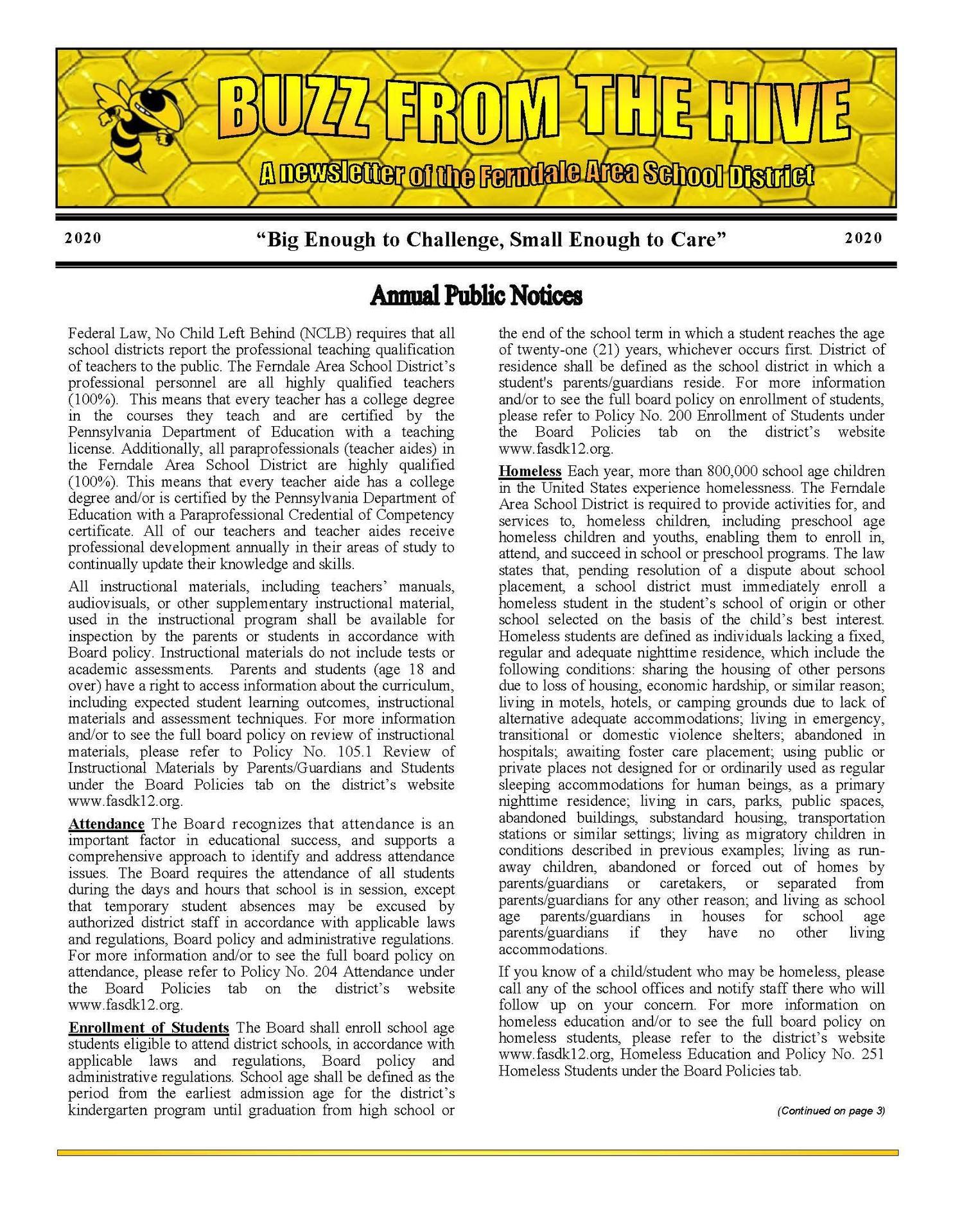 2020-2021 Annual Pubic Notices