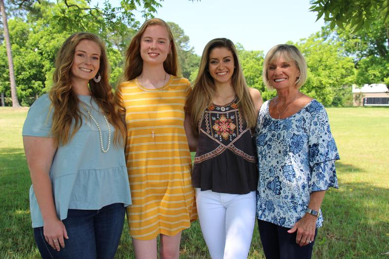 Pictured from left to right are Susan Taylor, Morgan Price and Lauren Caughman. They are pictured with Deborah Thomas from American Legion Auxiliary Post 61.