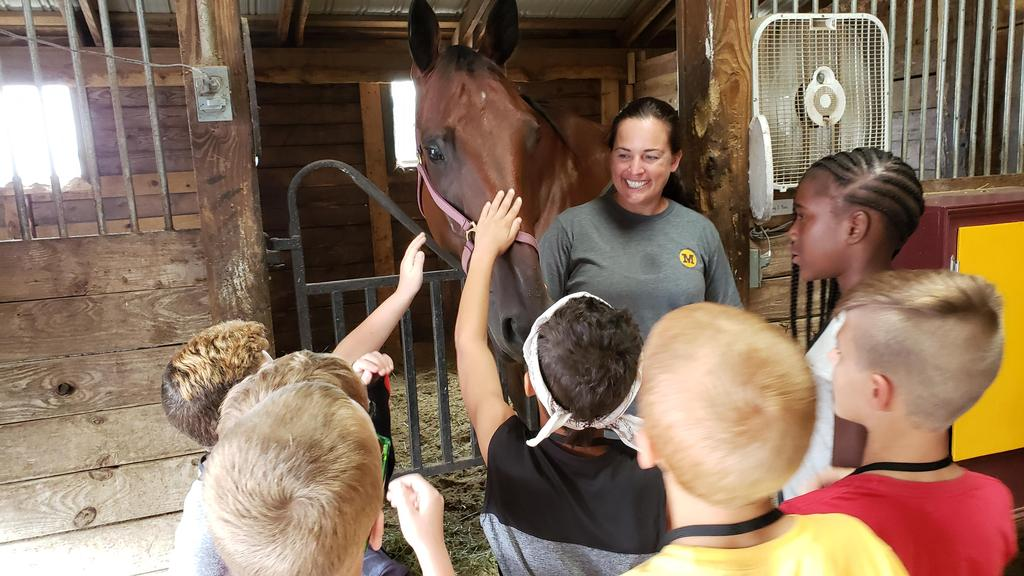 students petting horse at horse track