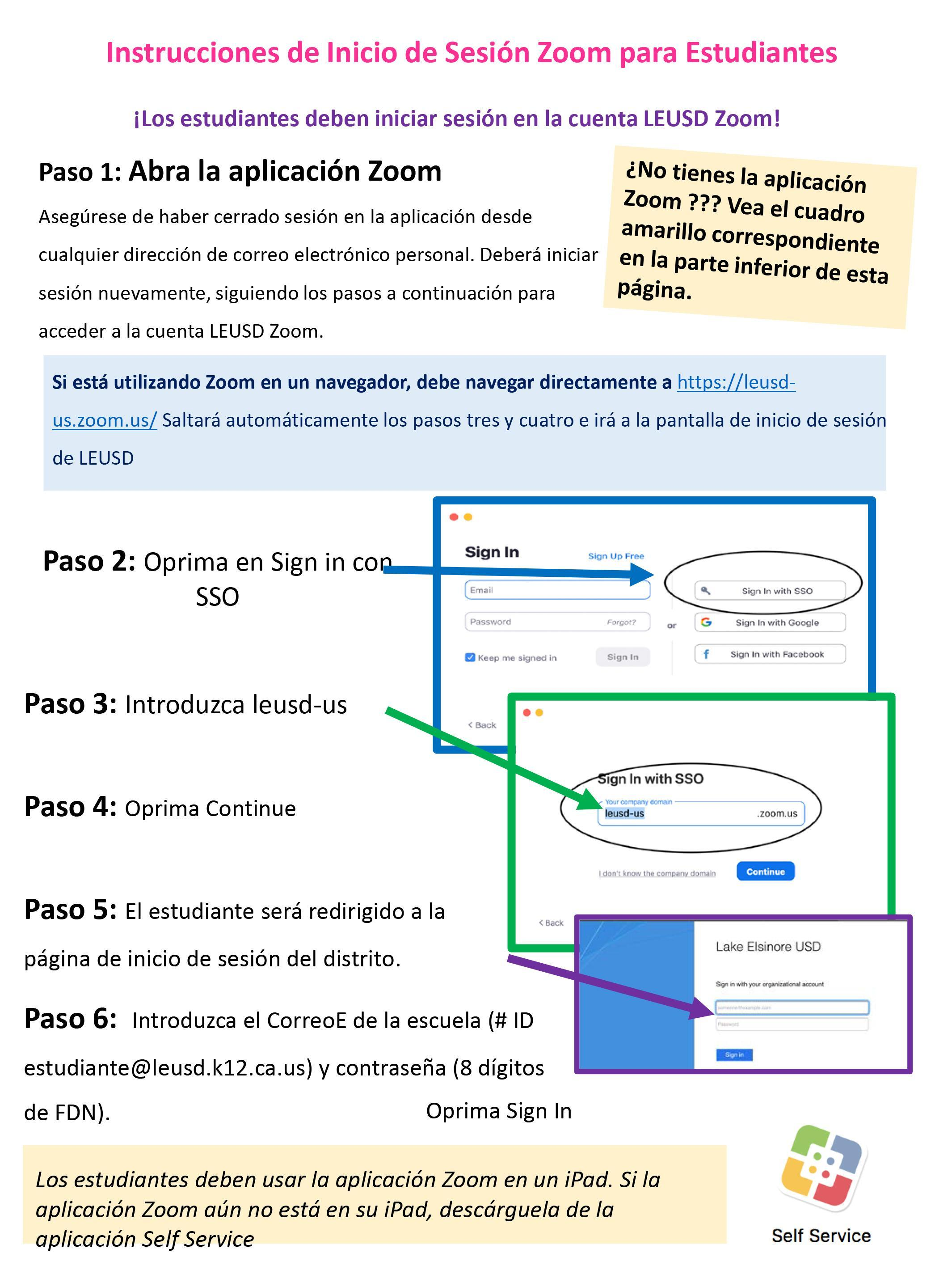 Spanish language ZOOM student login instructions