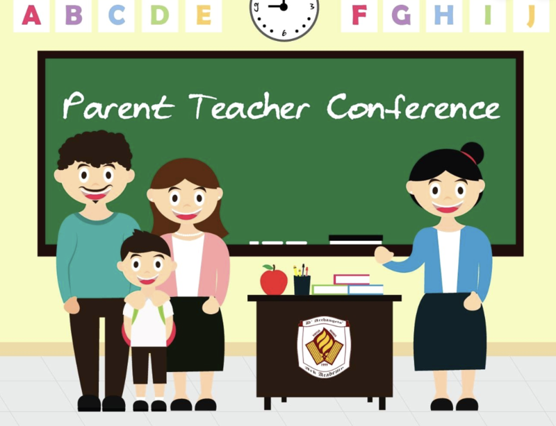 Teacher and parents with child standing in front of a chalk board
