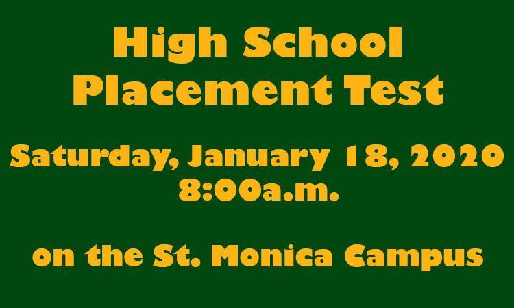 High School Placement Test Saturday, January 18 Featured Photo