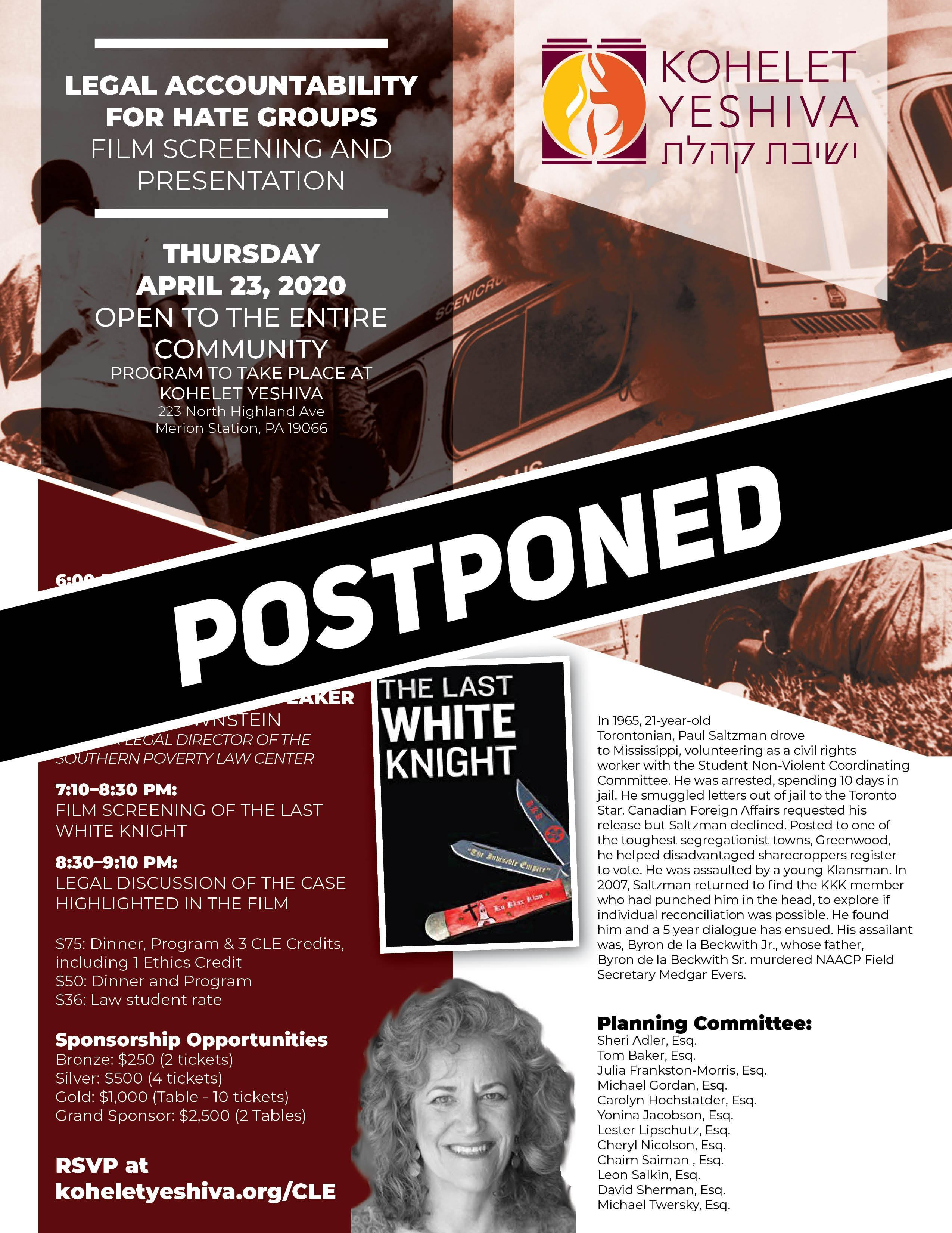 CLE Flyer - Postponed