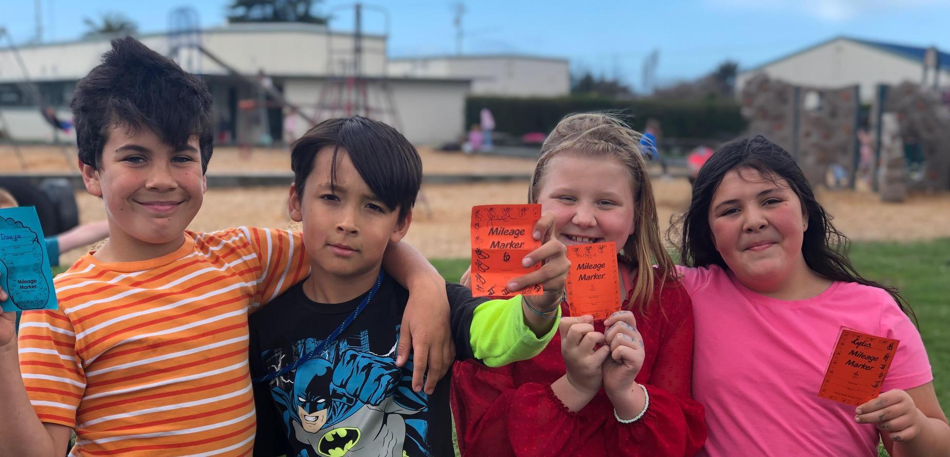 4 kids participating in mileage club
