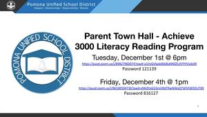 Parent Town Hall - Achieve 3000 Literacy Reading Program