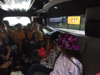 students on the limo lunch ride