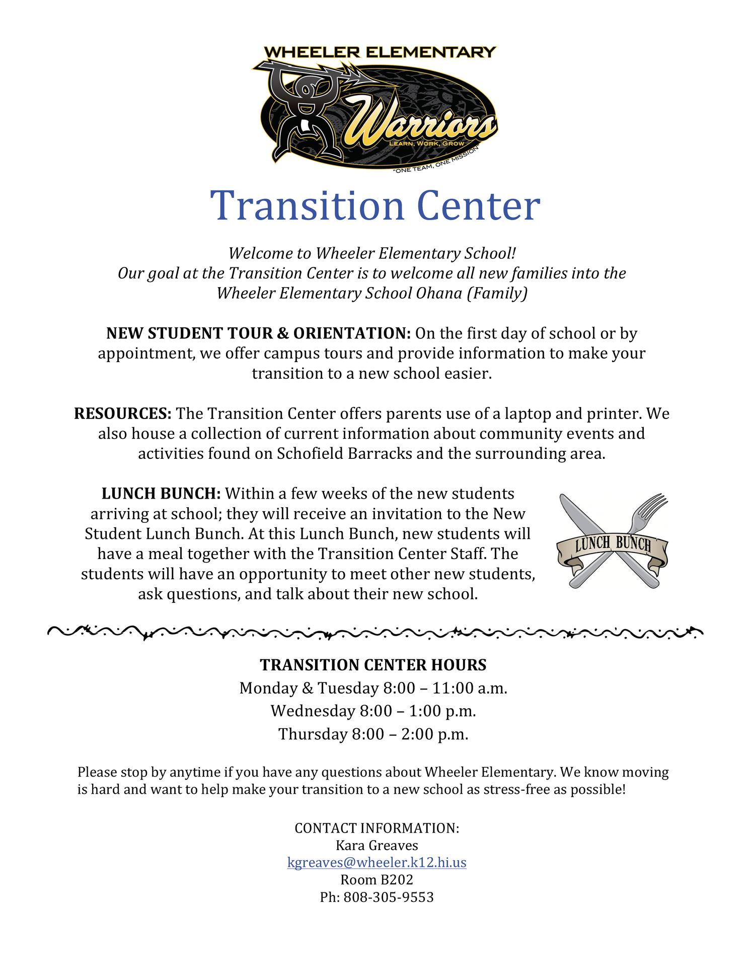 Transition Center information