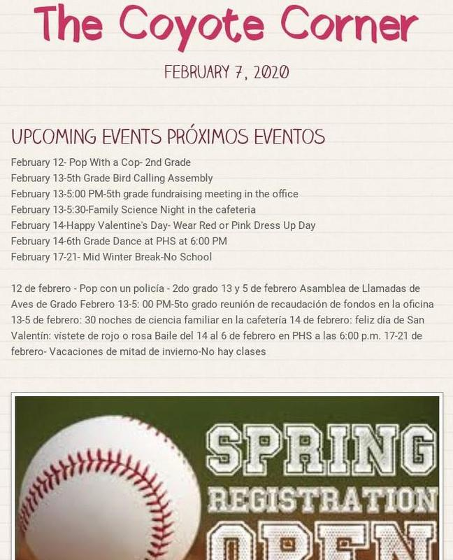 Screen shot of our February 7 newsletter