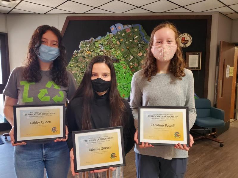 Environmental Essay Winners:  Gabby Queen, Isabella Queen, and Caroline Powell