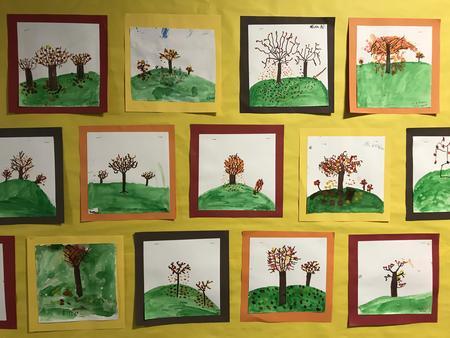 Student fall tree art