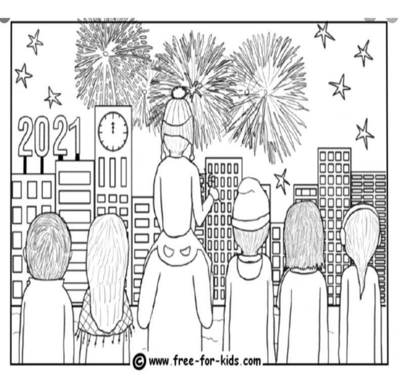 Holiday coloring contest- children together ringing in the new year