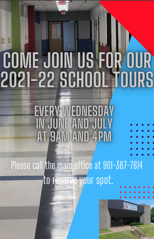We would like to invite you to attend a school tour of MSE Mendenhall this summer. School tours will be held every Wednesday in June and July at 9:00 am and 4:00 pm. In order to reserve your spot, please call the main ouffice at 901.367.7814.