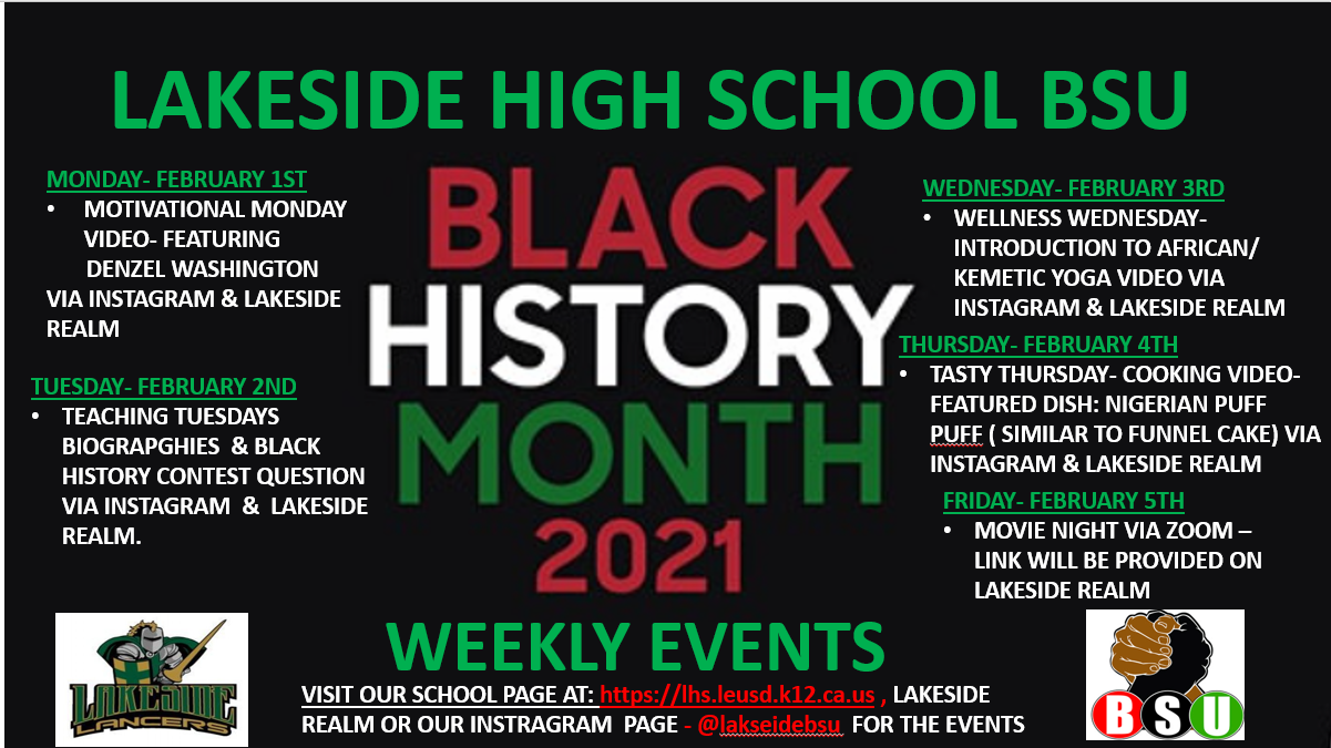 BLACK HISTORY MONTH EVENTS- WEEK 1