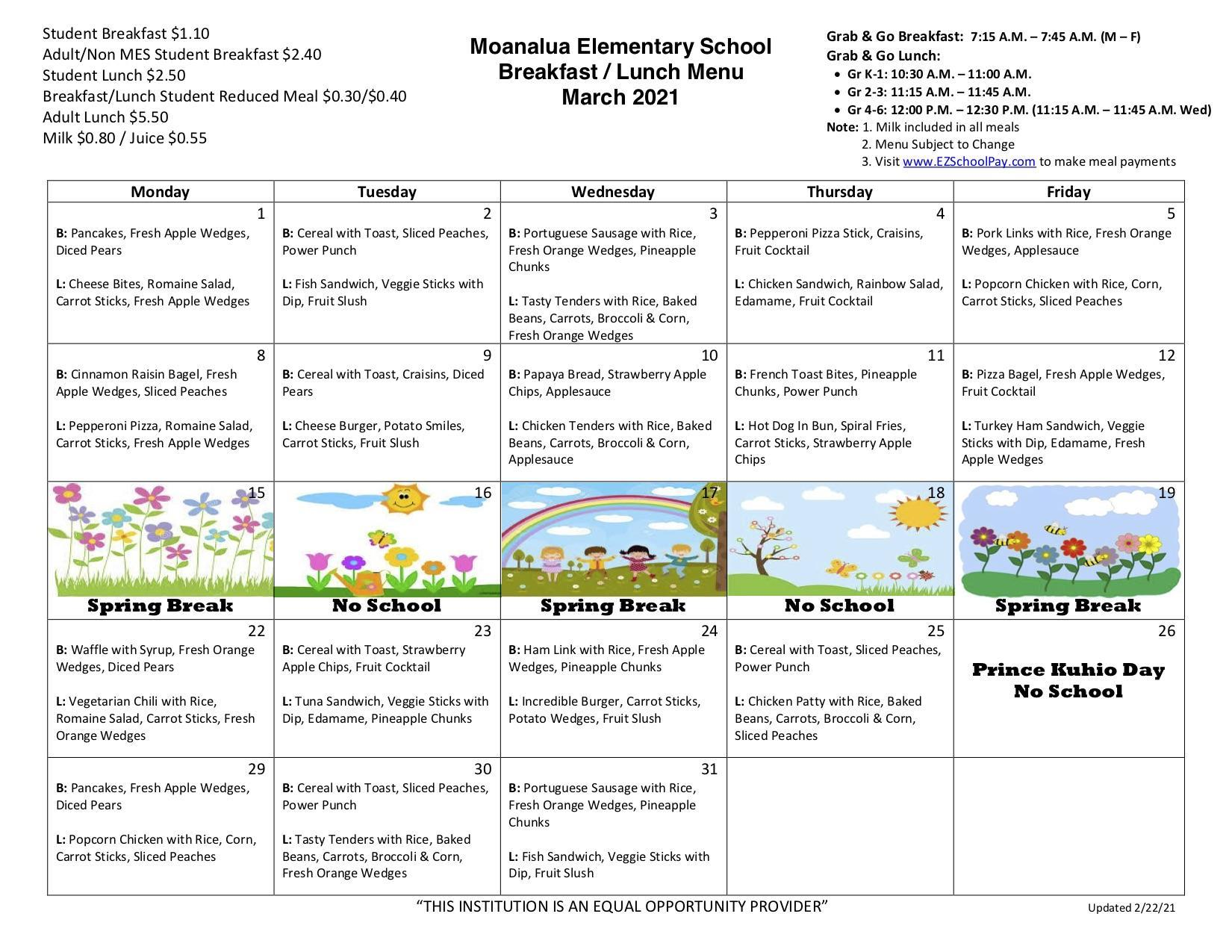March breakfast and lunch menu