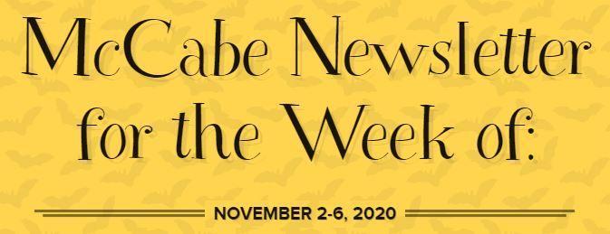 McCabe Newsletter for Week of November 2-6 Thumbnail Image