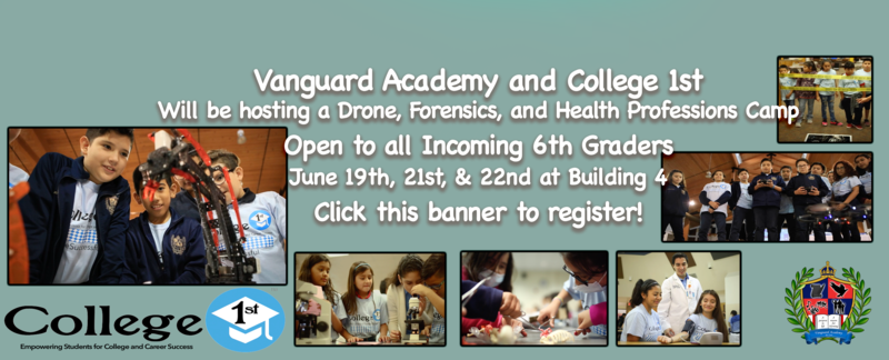 Vanguard Academy and College 1st will Host a 3-Day STEM/Health/Forensics Camp for all incoming 6th graders. Featured Photo