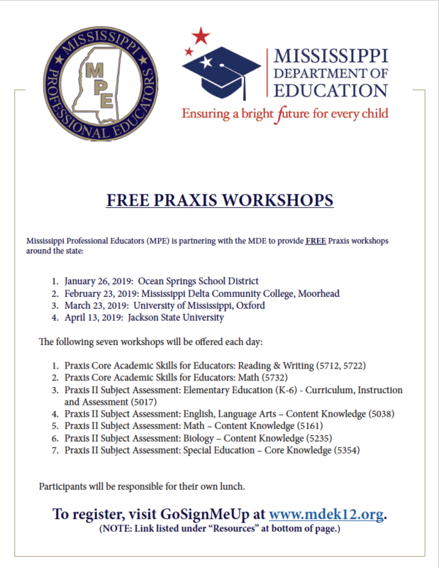 MDE and MPE Host FREE Praxis Workshops! Featured Photo