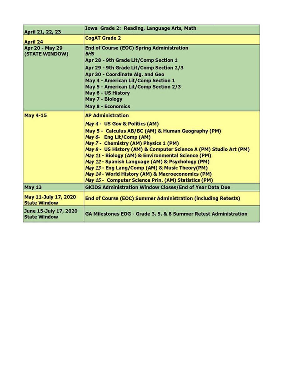 BCSS testing dates part 2