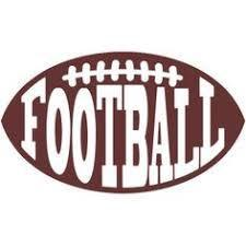 Brown football with the text FOOTBALL in white overlay