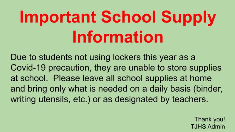 Important School Supply Info