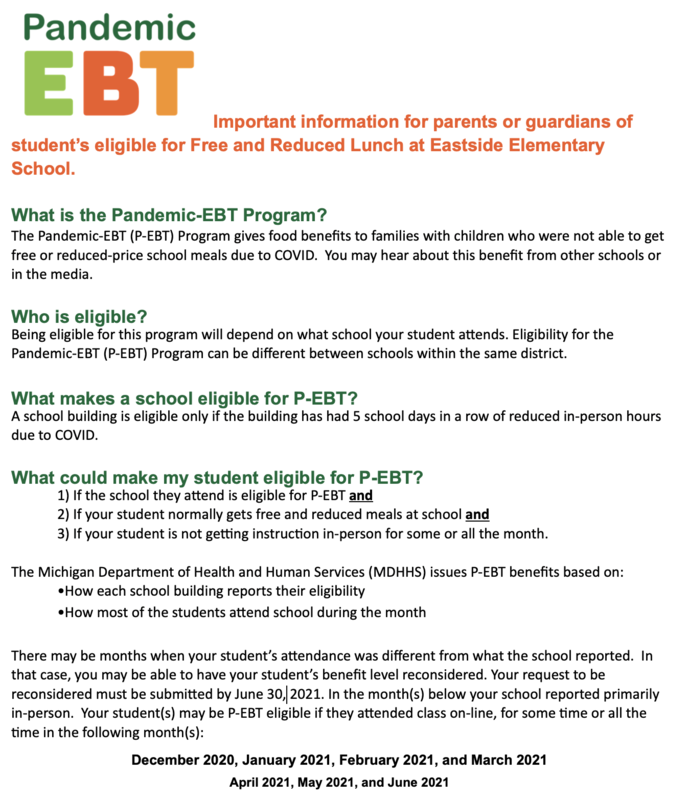 Important information for parents or guardians of student's eligible for Free and Reduced Lunch