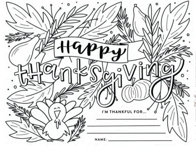 Thanksgiving coloring contest page
