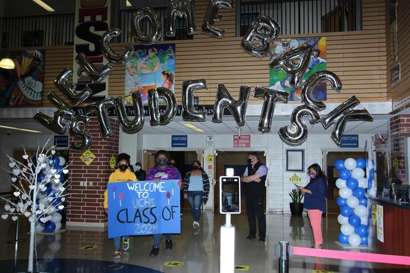 Decorated UCHS lobby with Welcome Back Students balloons