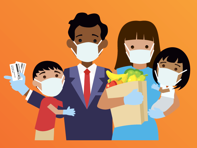 Clip art of a family, signifying food security