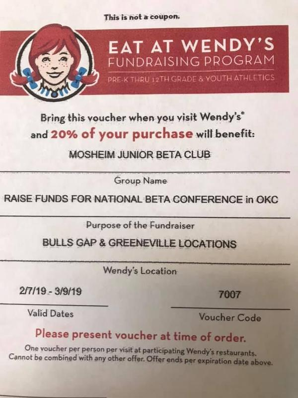 Wendy's 20% back voucher