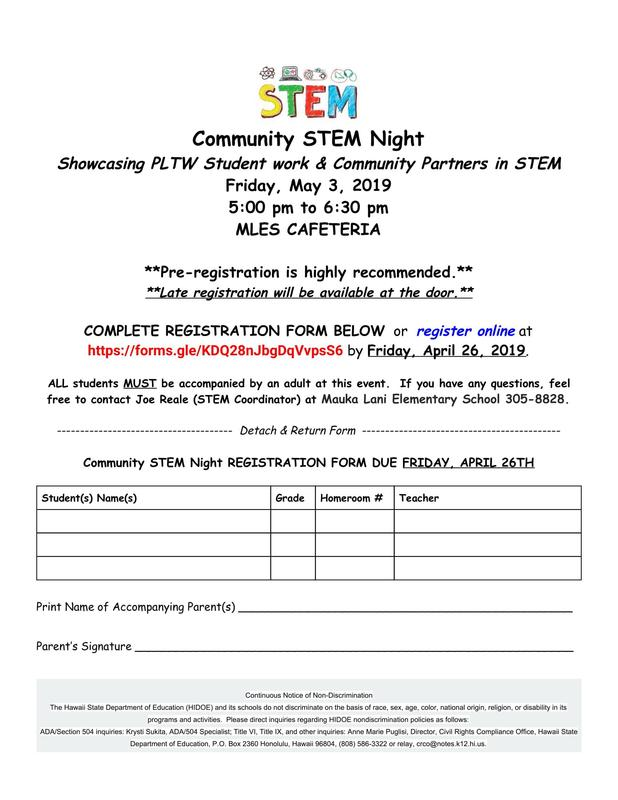 (CLICK FOR REGISTRATION FORM) Community STEM Night event on May 3rd Thumbnail Image