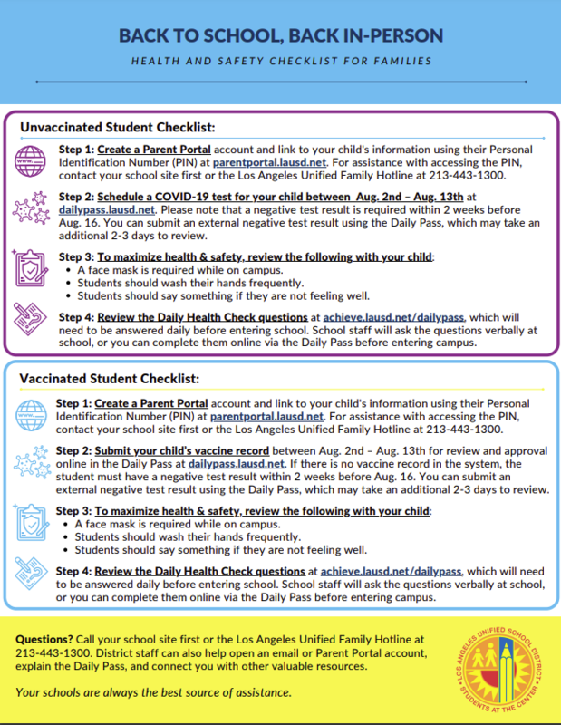 BACK TO SCHOOL, BACK IN-PERSO: HEALTH & SAFETY CHECKLIST FOR FAMILIES Featured Photo