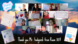 Zoom class showing thank you notes