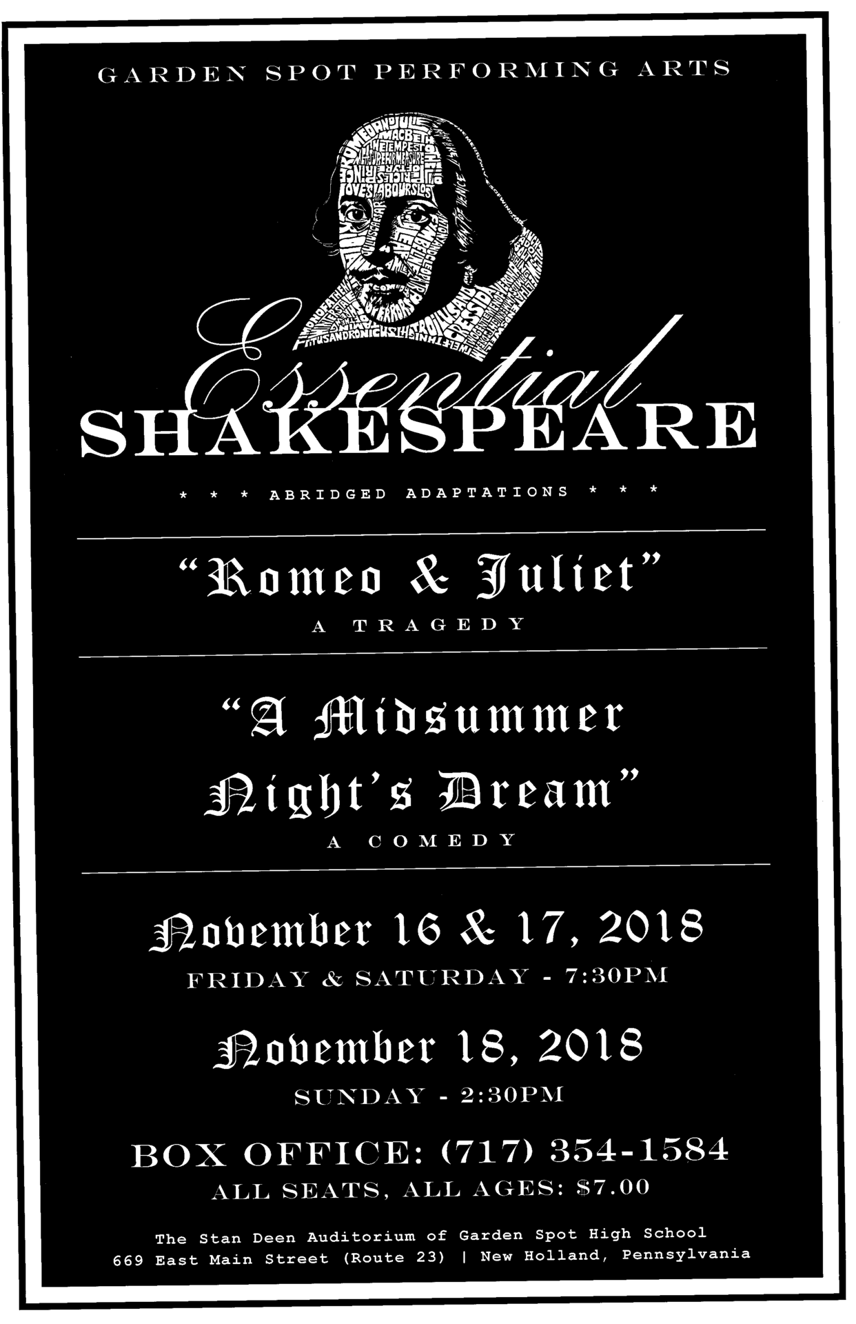 GSPA Essential Shakespeare Poster