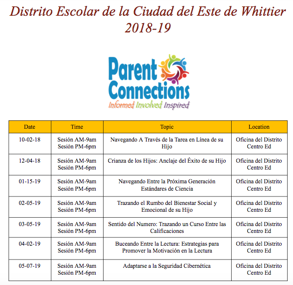 Parent Connections-Spanish 18-19