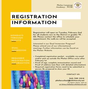 Phelan Registration Information Flyer