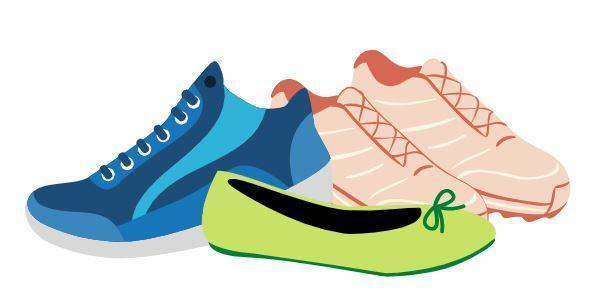 Blue athletics shoe, 2 pink athletics shoes, and 1 green ballet flat