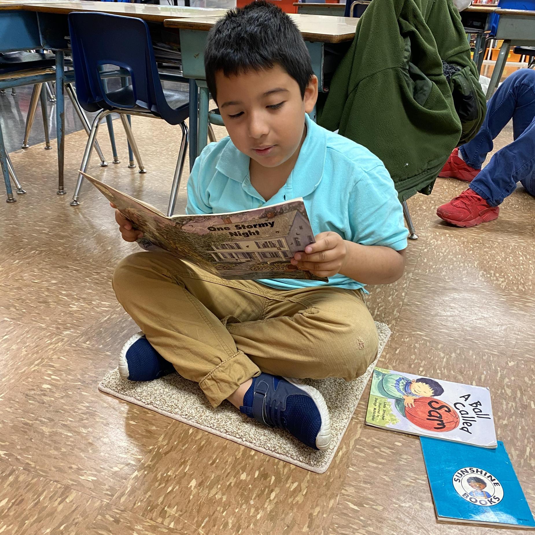 Boy reading a book.
