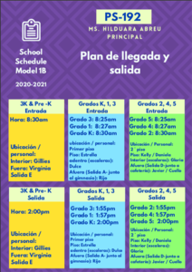 Arrival and Dismissal Schedule in Spanish - Colorful