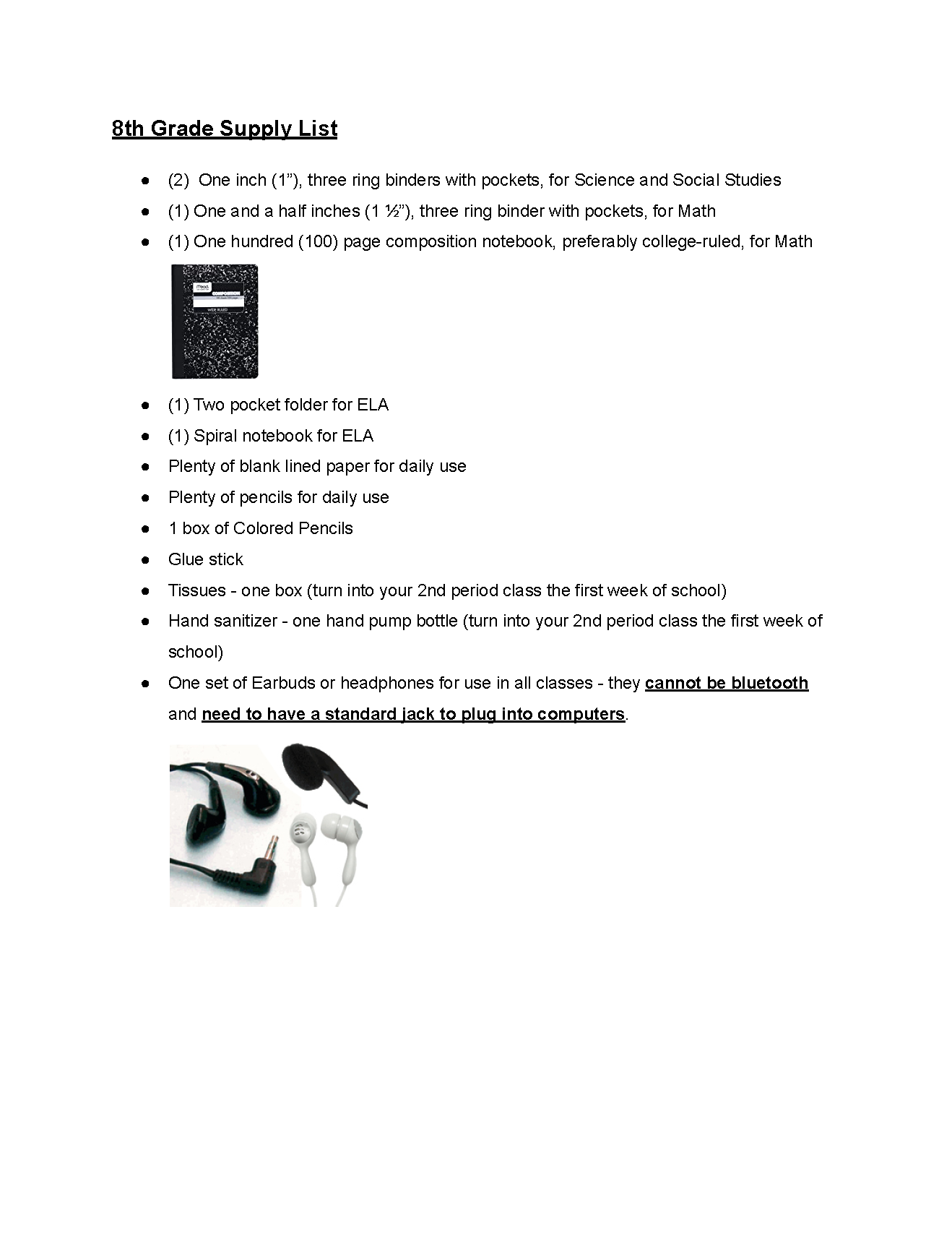 7th Grade Supply List