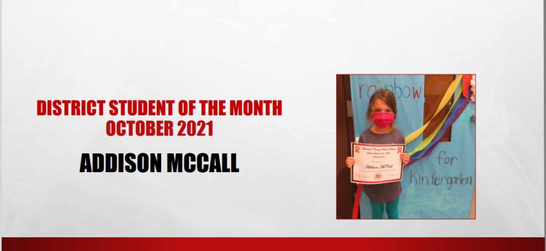 October 2021 Student of the Month Addison McCall