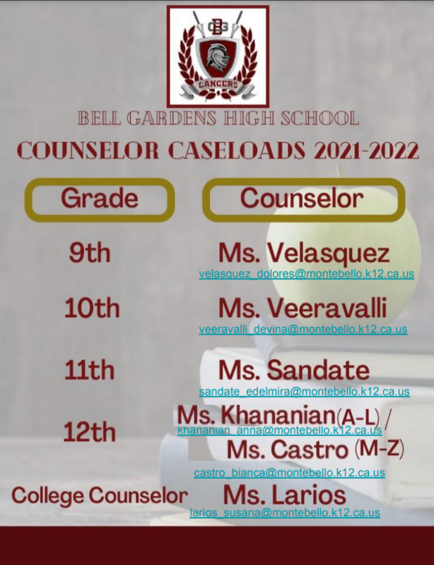 counselor caseload 2021-2022
